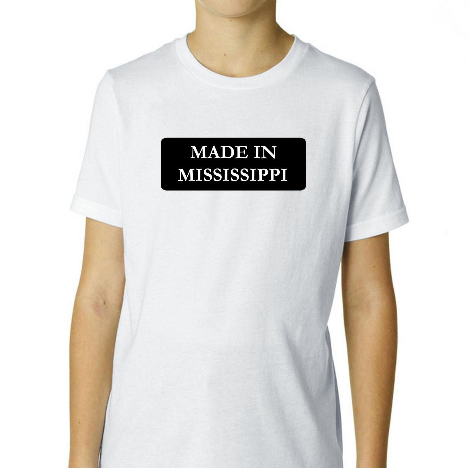 Hip Made In Mississippi State Pride Boy's Cotton Youth T-Shirt