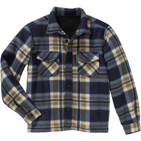 bocini boys micro fleece sherpa lined flannel shirt jacket. Black Bedroom Furniture Sets. Home Design Ideas