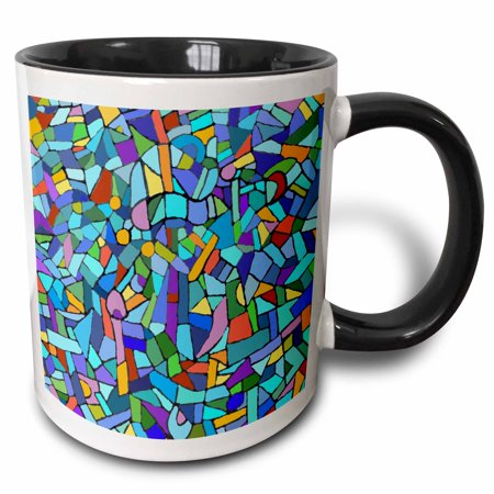 Tone Multicolored Glass - 3dRose Bright Vibrant and Colorful Blue Gaudi inspired mosaic pattern - stain glass like - multicolored - Two Tone Black Mug, 11-ounce