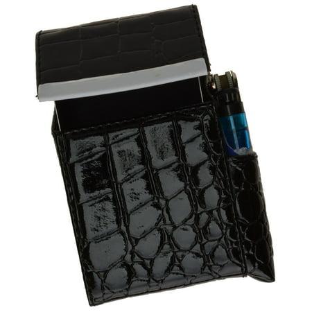 (Crocodile Pattern Genuine Leather Cigarette Case Holder with Lighter Pocket 92812CR (C) Black)
