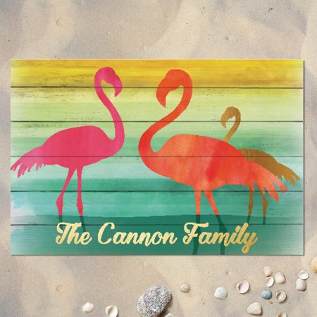 Personalized Doormat - Pink - Pink Flamingoes