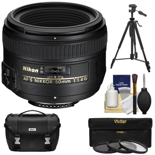 Nikon 50mm f/1.4G AF-S Nikkor Lens with Nikon Case + 3 UV/CPL/ND8 Filters + Tripod Kit for D3200, D3300, D5300, D5500, D7100, D7200, D750, D810 Camera