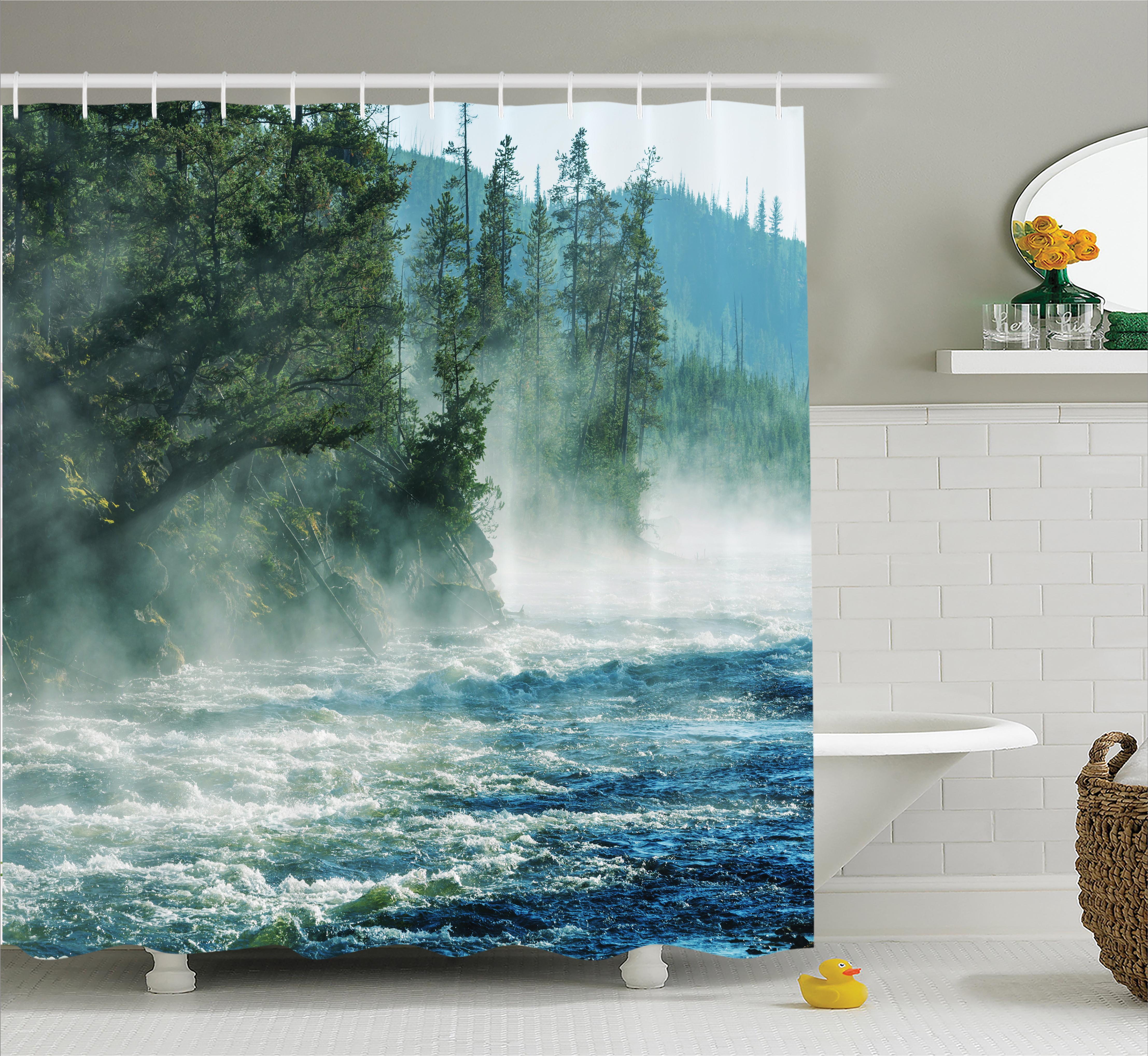 Yellowstone Decor Shower Curtain, Fog on River Alpine Trees by the Bank Wilderness Waterscape Picture Art, Fabric Bathroom Set with Hooks, 69W X 75L Inches Long, Green Blue, by Ambesonne