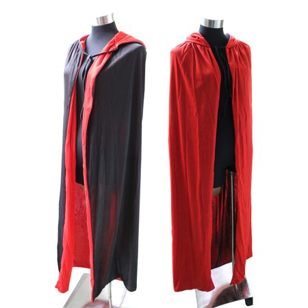 Adult Duplex Dracula Halloween Vampire Cape Cloak with Hood Cosplay Party Dress Costumes - Capes And Cloaks