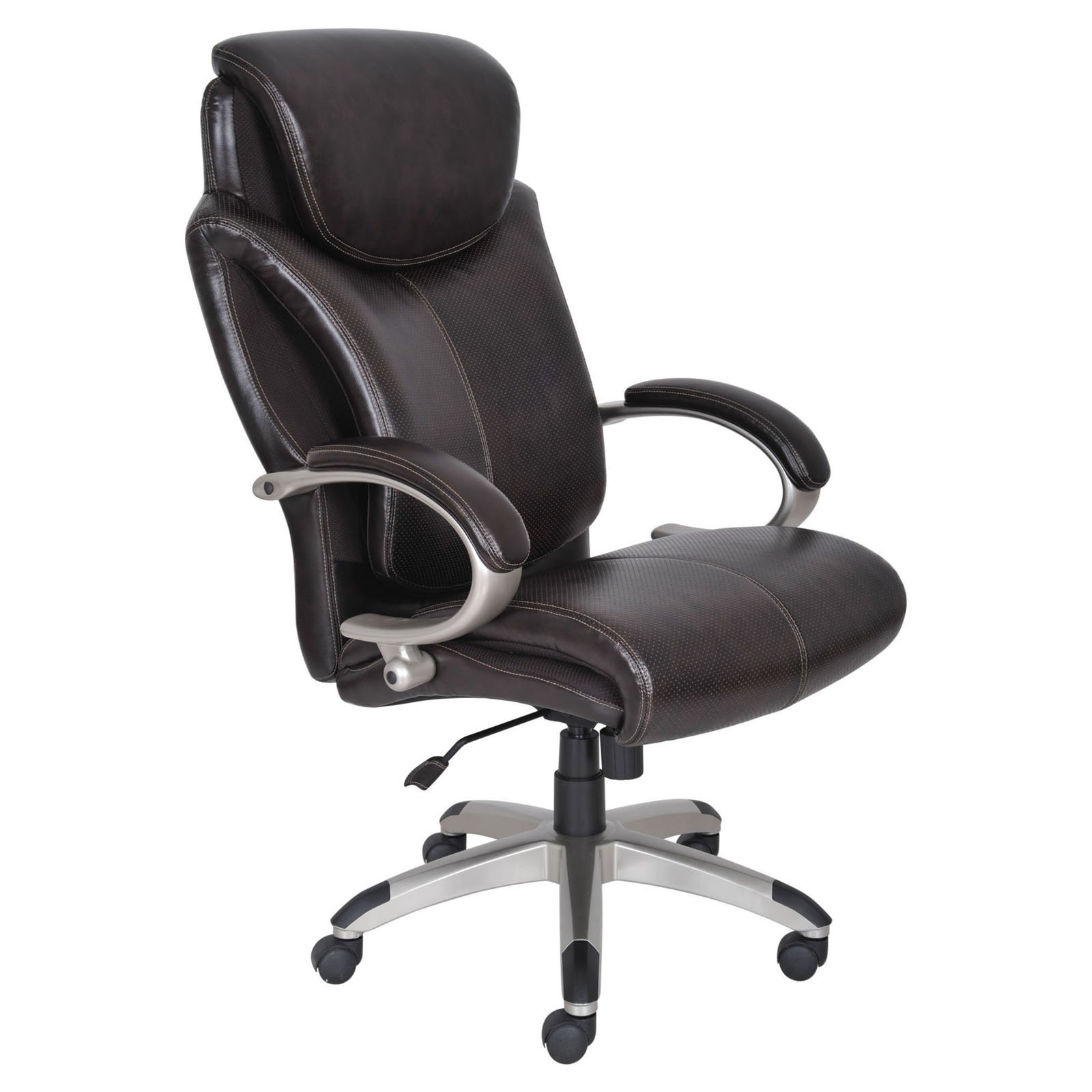 Serta Health & Wellness Big & Tall Bonded Leather Executive Office Chair, Roasted Chestnut
