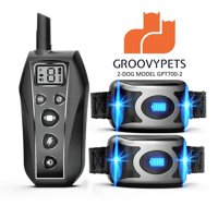 GROOVYPETS Shock Collar for Dogs with Remote - 650 Yard Range Remote Control Range with Full Waterproof Humane Safe Dog Obedience Training Collar for Two Small Medium Large Dogs