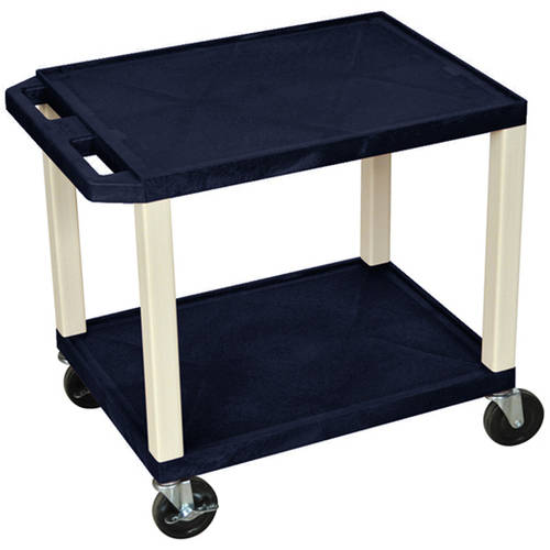 H. Wilson Tuffy 2-Shelf A/V Cart with Electric, Navy Shelves and Putty Legs
