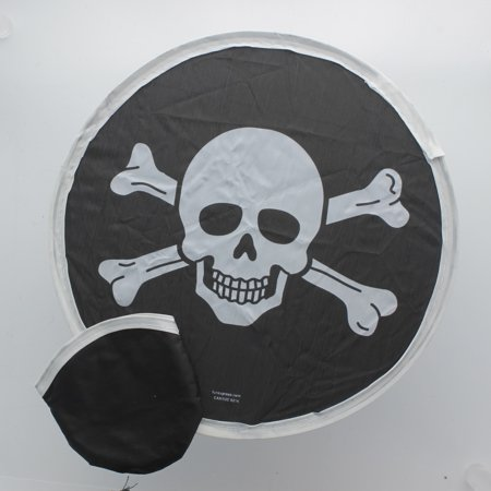 Nylon Pirate Folding Flyers In Pouch Lot of 12 Jolly Rogers Skull & Crossbones - Party City Flyer