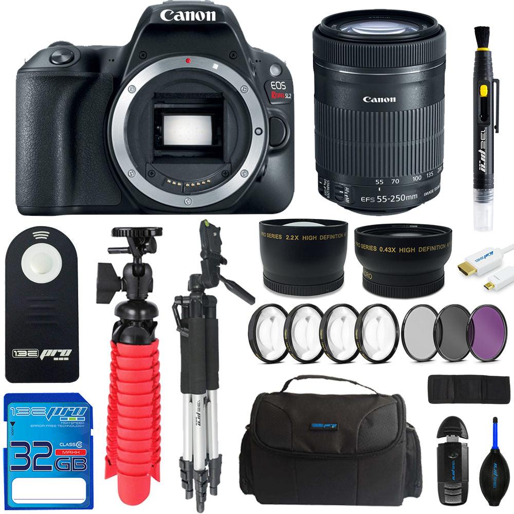 Canon EOS Rebel 200D/SL2 DSLR Camera (Black) + Canon 55-250mm STM Lens + Pixi Advanced Bundle Kit