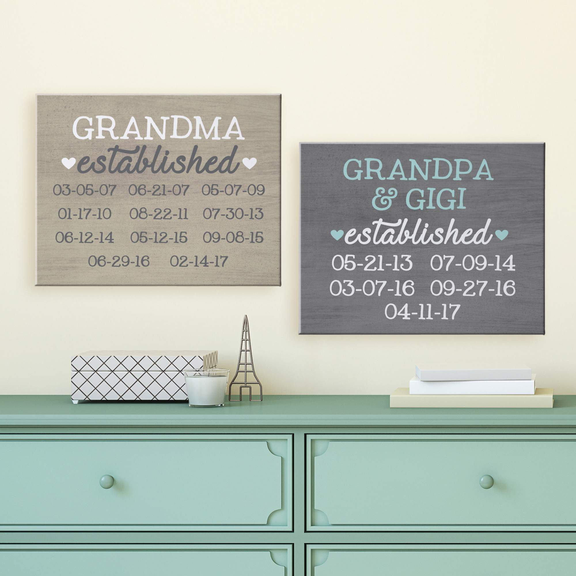 Personalized We Became Grandparents Canvas, Gray