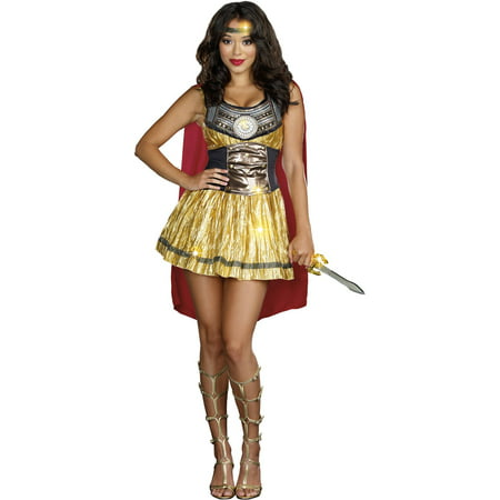 Golden Gladiator Women's Adult Halloween Costume, One Size, XL (14-16)