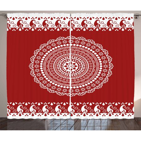 Red Mandala Curtains 2 Panels Set, Traditional Ethnic Asian Paisley Design with Side Frame Borders Image, Window Drapes for Living Room Bedroom, 108W X 96L Inches, Burgundy and White, by - White And Burgundy
