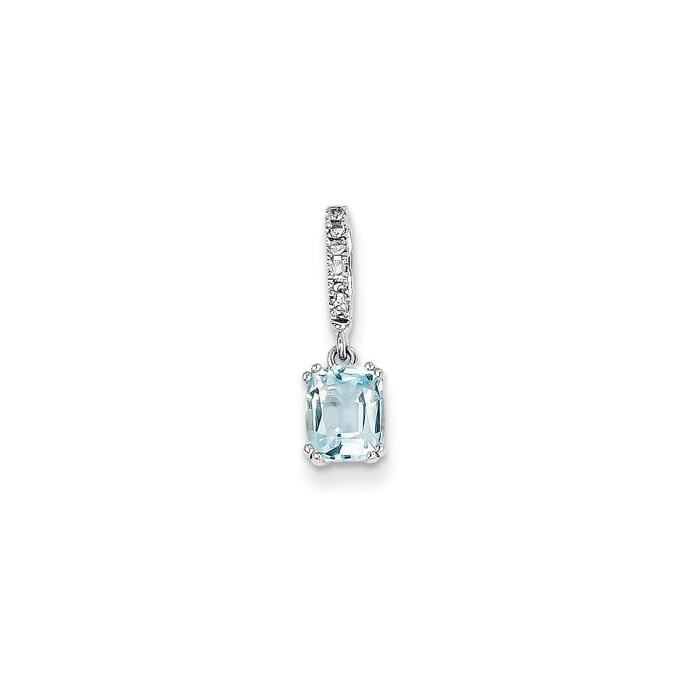 14k White Gold Prong Set Diamond & Blue Topaz Pendant Wt- 0.03ct. Gem Wt- 0.9ct