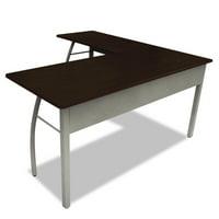 Linea Italia Trento Line L shaped Desk 59 18w X 59 18d X 29 12h Mochagray