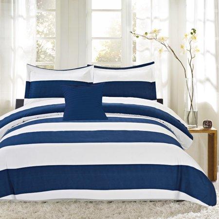 Blue White Nautical Stripe Reversible Down Alternative 4pc