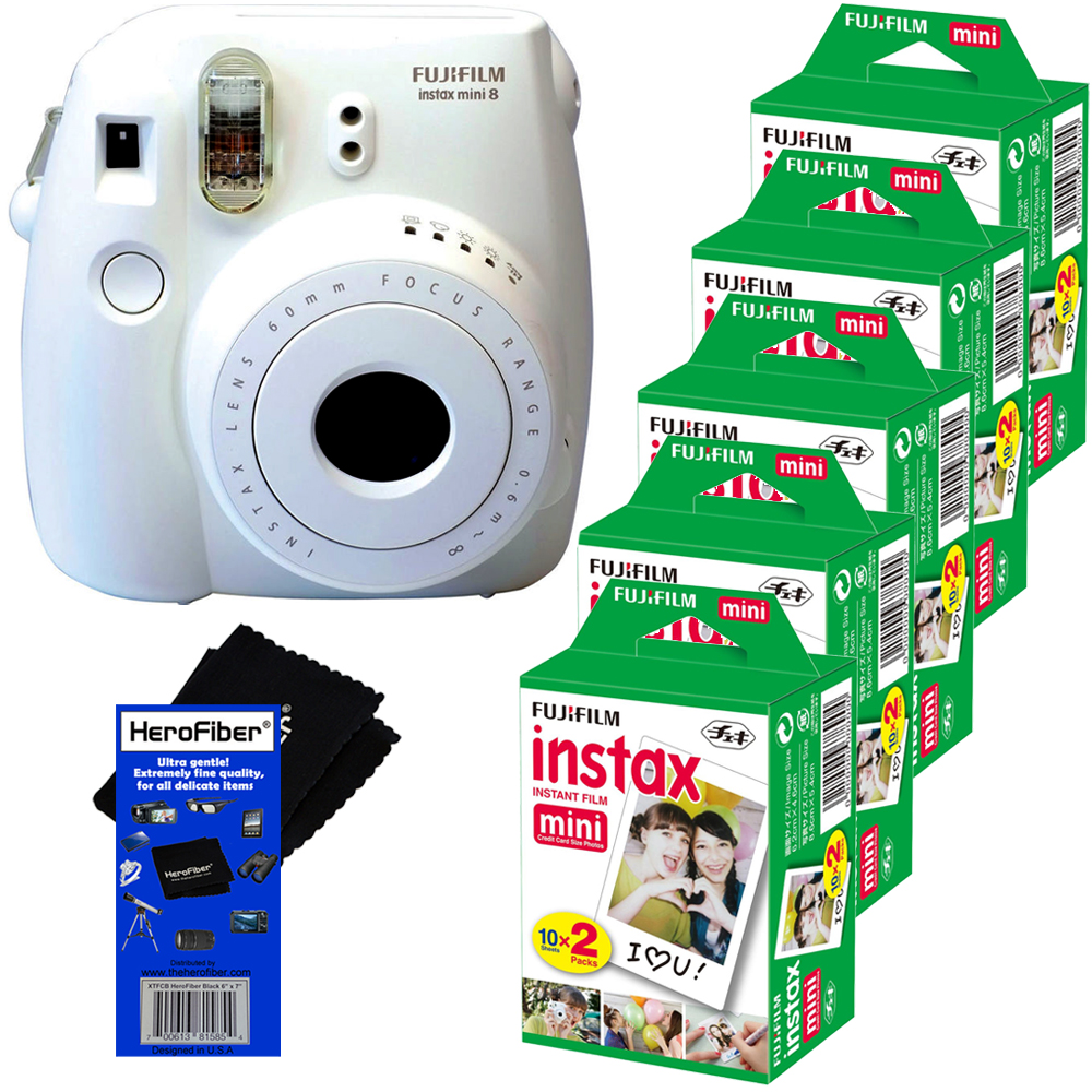 FujiFilm Instax Mini 8 Instant Film Camera (White) + FujiFilm Instax Mini Instant Film (100 SHeets) +... by Fujifilm