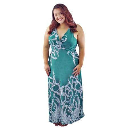 Luxury Divas - Green Filigree Sleeveless Plus Size Maxi Dress ...