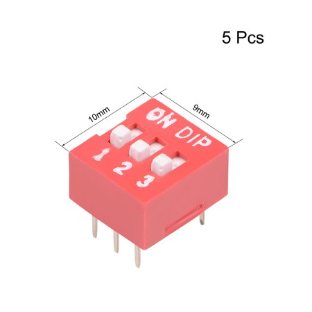 5 Pcs Red DIP Switch Horizontal 12 3 Positions 2.54mm Pitch for Circuit Breadboards PCB - image 1 de 3