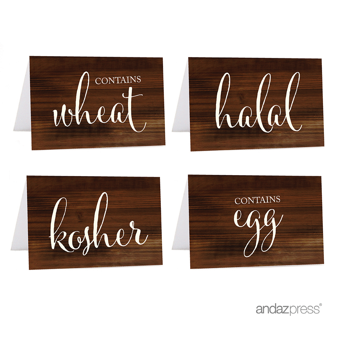Kosher, Halal, Egg, Wheat Brown Food Station Buffet Menu Place Cards, Rustic Wood, 20-Pack