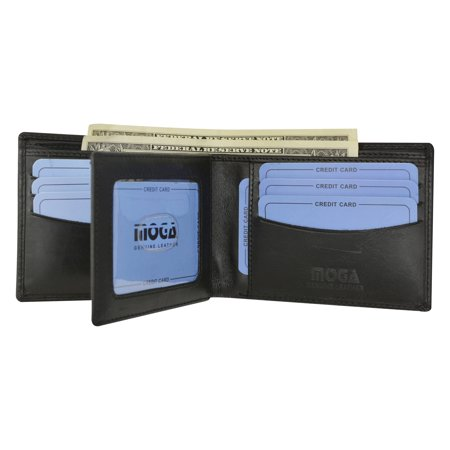 MOGA High End Leather Mens Bifold Wallet w/ Middle ID Card Flap