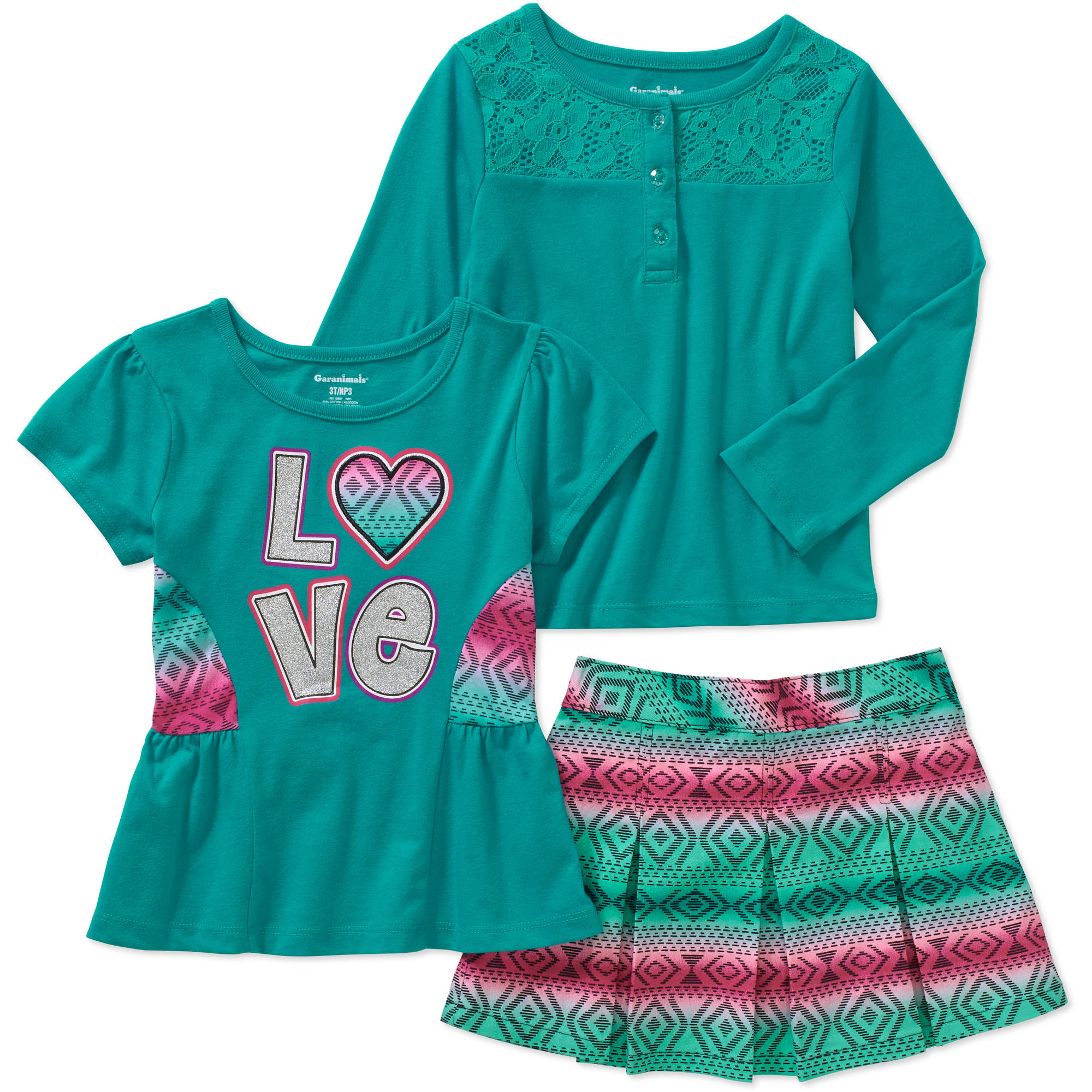 Garanimals Baby Toddler Girls' 3 Piece Long Sleeve Henley, Short Sleeve Graphic Top and Woven Skort Set