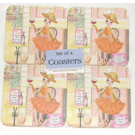 Square 4-inch Cork Coasters, Set of 4 (Ladies who Lunch)