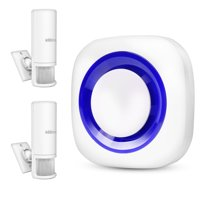 Motion Detector System Home Security Infrared Sensor Alarm - 2 Sensor and 1 Receiver- 52 Chime Tunes - LED Indicator