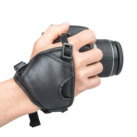 TSV Professional Camera Grip Hand Strap with Black Padded Neoprene Design and Metal Plate by USA Gear - Works with Canon, Fujifilm, Nikon, Sony and more DSLR, Mirrorless, Point & Shoot Cameras ()