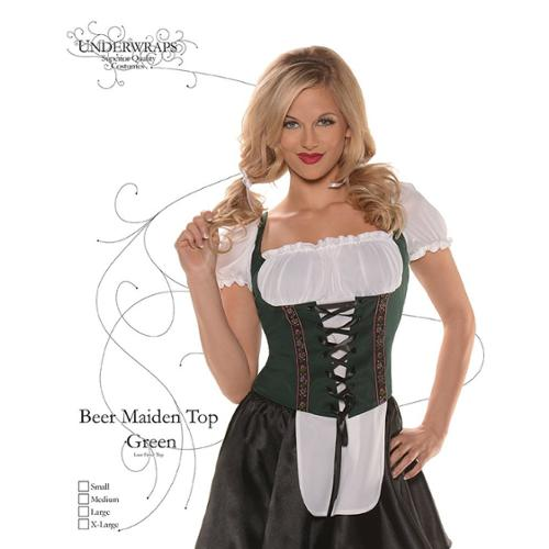 Sexy Beer Maiden Green Costume Top Large