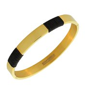 EDFORCE Stainless Steel Black Rubber Silicone Oval-Shaped Yellow Gold-Tone Bangle Bracelet