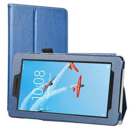 Lenovo Tab E8 Case, EpicGadget Lightweight Cover Folio PU Leather Folding Stand Case for Lenovo E8 8 Inch Tablet 2018 (Navy Blue) ()