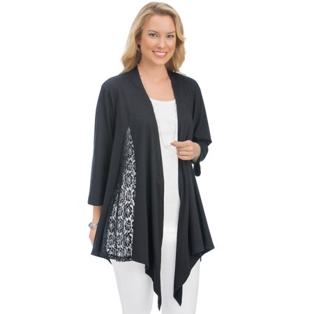 Fly Away Cotton Cardigan (Women's Lace Inset Knit Draped Open Front Cardigan Flyaway Sweater w/ 3/4 Sleeves, Xx-Large, Black)