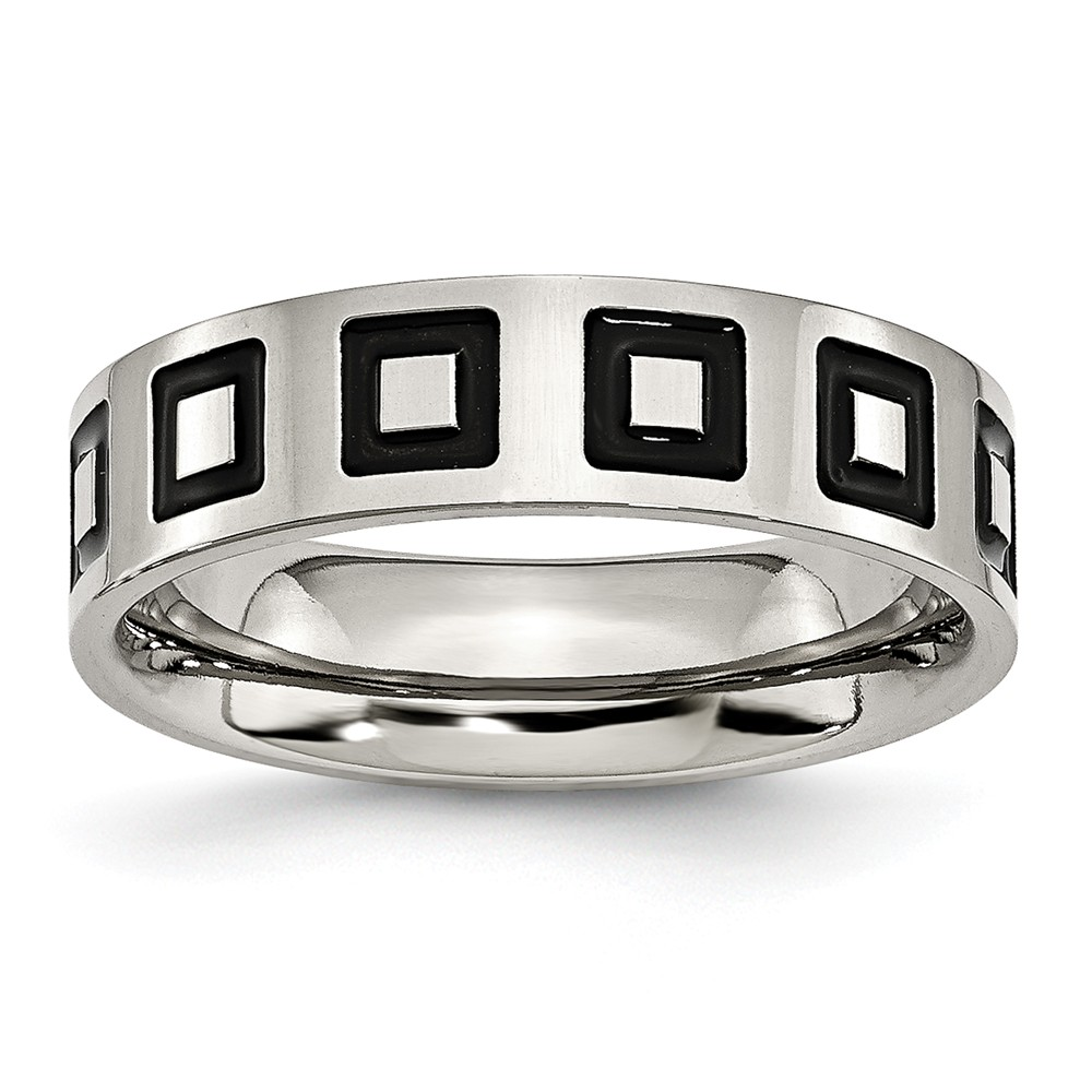 Stainless Steel Enameled Flat 6mm Engravable Brushed Band