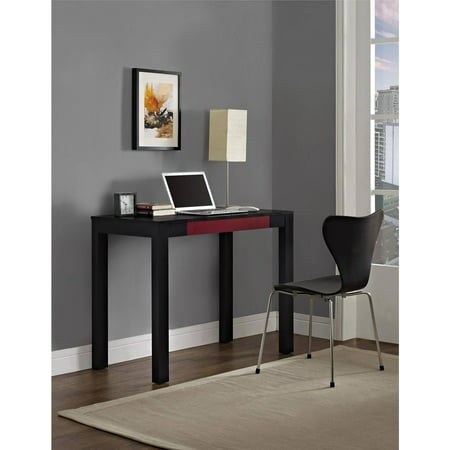 Altra Furniture Parsons 1 Drawer Home Office Desk In Black And Red