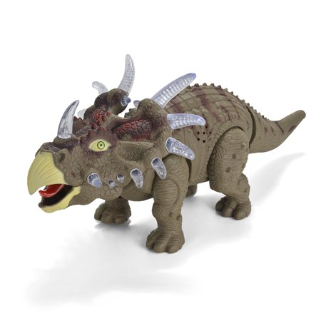 Battery Powered Walking Dinosaur Triceratops Toy Figure W Sounds Multi Colored Lights Real Movement Green