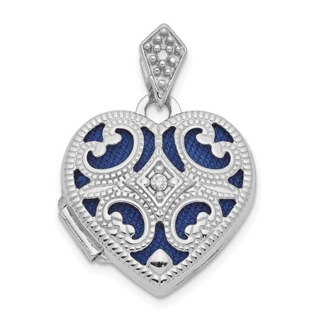 14k White Gold 15mm Diamond Heart Photo Pendant Charm Locket Chain Necklace That Holds Pictures Gifts For Women For Her ()