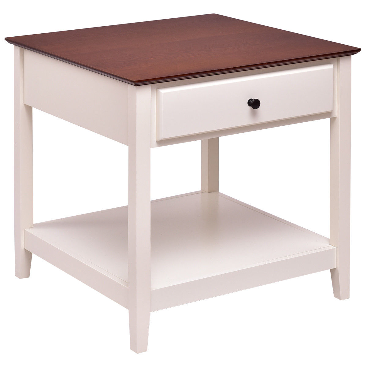 Costway Set of 2 Wood Side Table End Table Night Stand Coffee Table with Drawer & Shelf - image 6 de 9