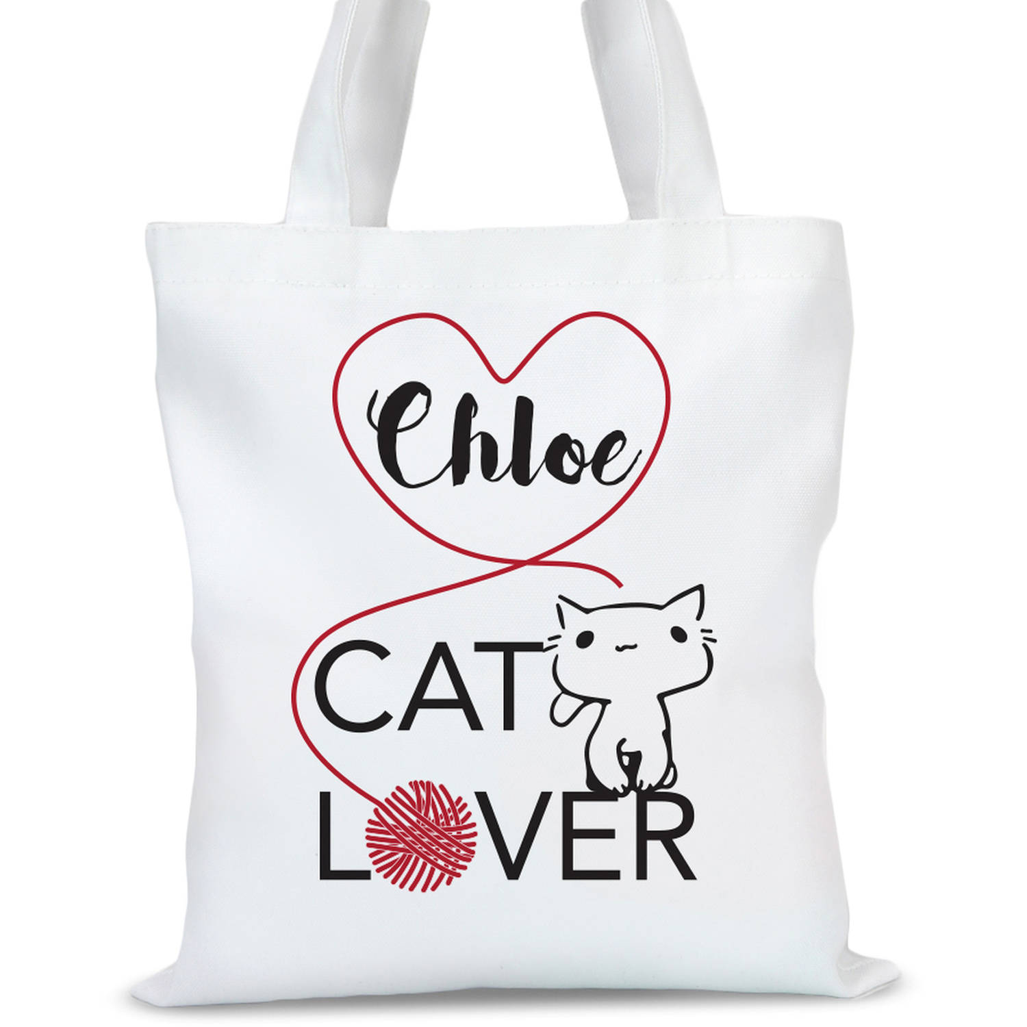"""Personalized Cat Lover Tote Bag, Sizes 11"""" x 14"""" and 14.5"""" x 18"""""""
