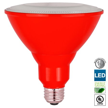 Sunlite LED PAR38 Red Floodlight Bulb, 8W (25W Equivalent), Medium (E26) Base, Indoor, Outdoor, Wet Location, Turtle Safe and Wildlife Friendly, 25,000 Hour Lifespan, UL (Friendly Center Hours)