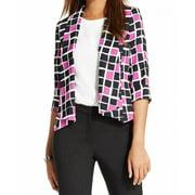Kasper NEW Purple Black Geo-Print Women's Size 8 Draped Collared Jacket