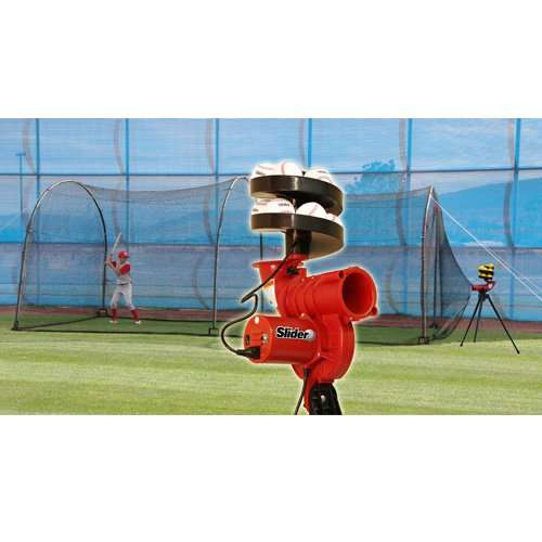 Heater Sports Slider Lite-Ball Pitching Machine & Xtender 24 ft. Batting Cage