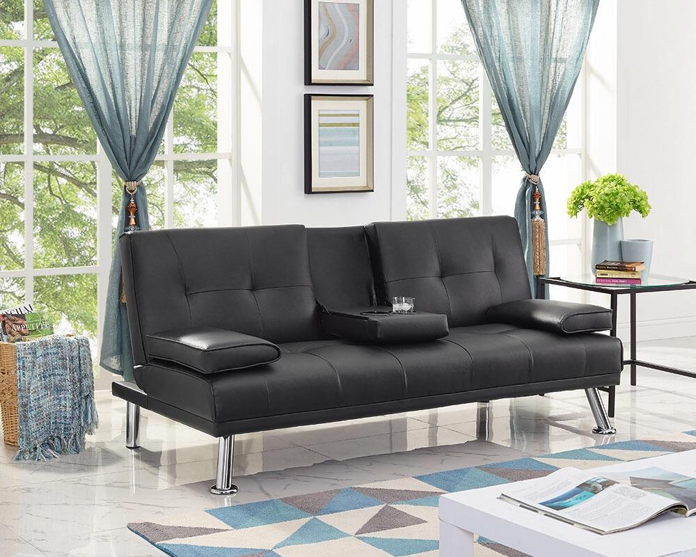 Naomi Home Futon Sofa Bed with Armrest, Multiple Colors by Naomi Home
