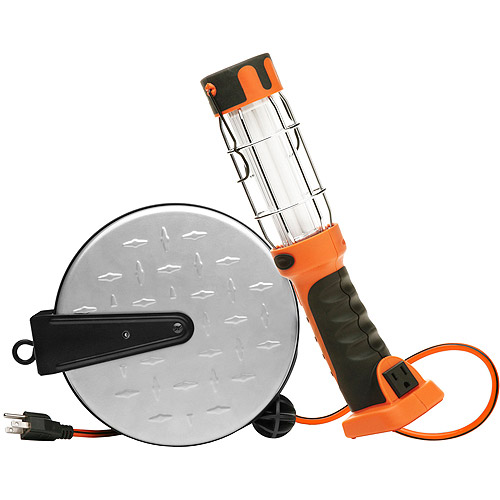 Designers Edge 16 3-Gauge 30' Retractable Cord Reel with 13W Fluorescent Work Light,... by Coleman Cable