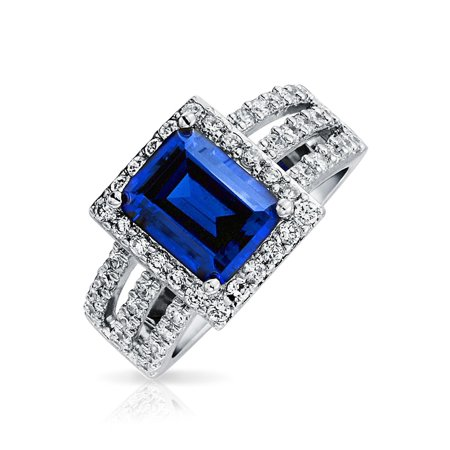 3CT Blue Rectangular CZ Triple Pave Band Engagement Cocktail Ring Simulated Sapphire Cut Cubic Zirconia .925 (Blue Sapphire Cubic Zirconia Ring)