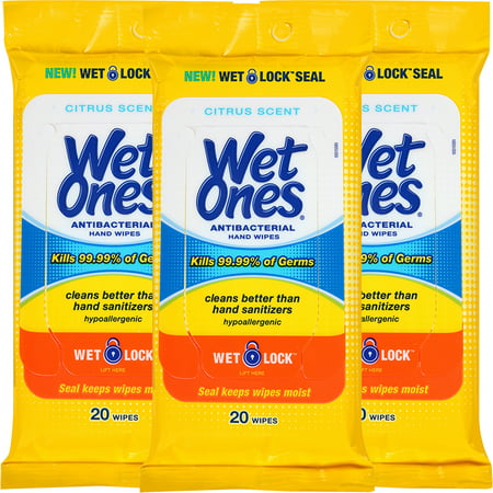 (3 Pack) Wet Ones Antibacterial Hand Wipes Citrus Scent Travel Pack - 20 Count