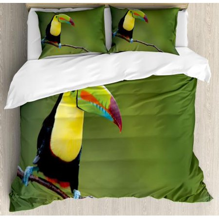 Wildlife Queen Size Duvet Cover Set, Keel Billed Toucan Colorful on Branch Tree Rainforest Park Tropical Bird America, Decorative 3 Piece Bedding Set with 2 Pillow Shams, Multicolor, by Ambesonne