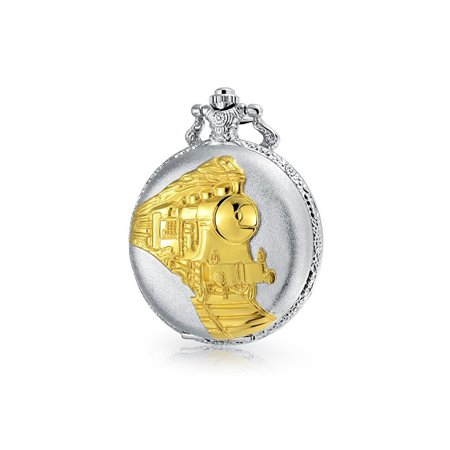 Date Silver Pocket Watch - Two Tone Steam Train Railroad Roman Numerals White Dial Pocket Watch For Men Silver Plating Gold Plated Alloy With Chain