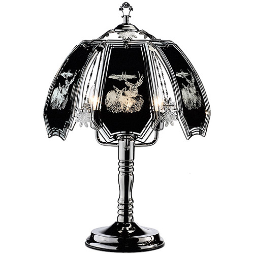 "OK Lighting 23.5""H Deer Theme Touch Lamp, Black Chrome"
