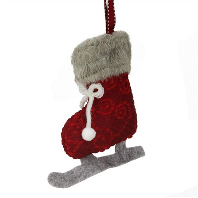 NorthLight 5.5 in. Red And Gray Plush Knit Ice Skate Christmas Ornament by