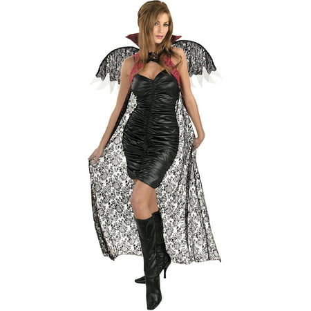 Red and Black Lace Cape with Wings Adult Halloween Costume - Black And Red Cape